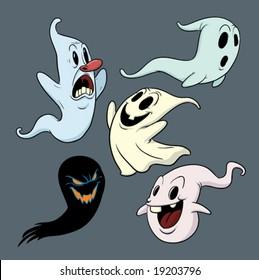 Five cartoon ghosts