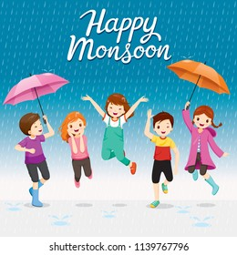 Five Children With Umbrella And Raincoat Jumping In The Rain Playfully, Monsoon, Rainy Day, Season, Raindrop, People, Relationship, Soaked
