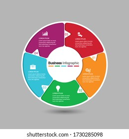 a five circle element with a paper icon and a place for the text to be a white paper circle. Concept 5 features of business development. Infographic design template. Vector illustration.