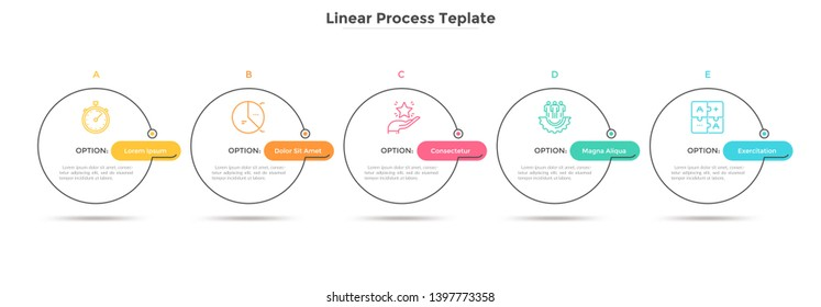 Five circles placed in horizontal row. Concept of strategic development plan with 5 successive steps or stages. Minimal infographic design template. Linear vector illustration for presentation.