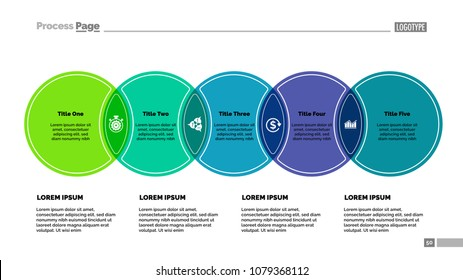 Five circles process chart template. Business data. Abstract elements of diagram, graphic. Project, strategy, analitics, finance or marketing creative concept for infographic, project.