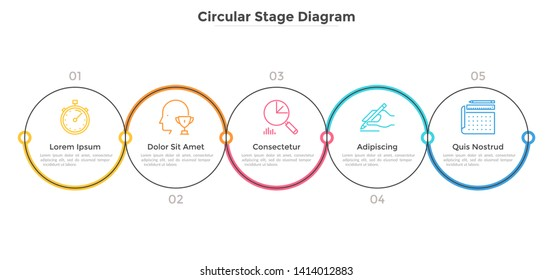 Five circular elements arranged into horizontal row. Concept of 5 strategic steps of business project development. Linear infographic design template. Vector illustration for banner, presentation.
