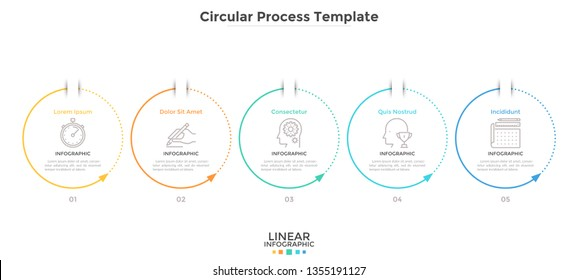 Five circular elements with arrows arranged in horizontal row. Concept of 5 cyclic stages of business process. Simple infographic design template. Flat vector illustration for progress diagram.
