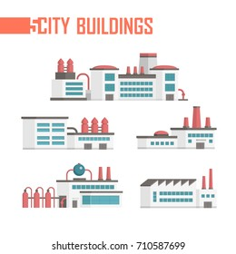 Five city industrial buildings set of icons - vector illustration isolated on white background. Plants, factories, water towers, facilities. Grey, red and blue color