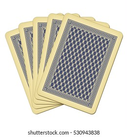 Five closed playing cards - vintage playing cards vector illustration