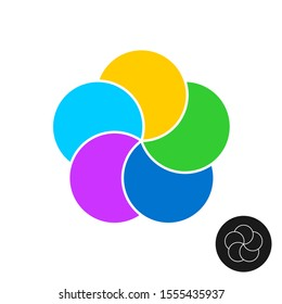 Five color circles infographic elements template. 5 round parts graphic design. Simple flower logo.