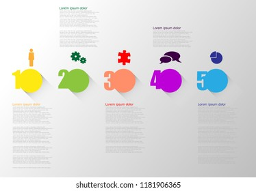 Five color vector icons infographic with shadow on gradiant gray background