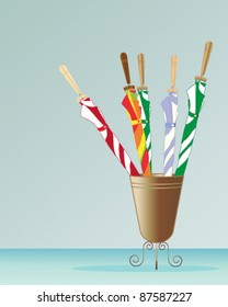 five colorful folded umbrellas  in a metal stand vector illustration in eps 10 format