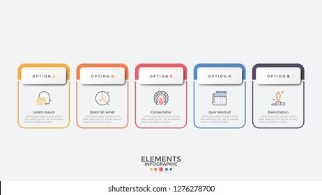 Five colorful rectangular elements organized in horizontal row. Modern infographic design template. Concept of 5 strategic steps of business development. Vector illustration for process visualization.