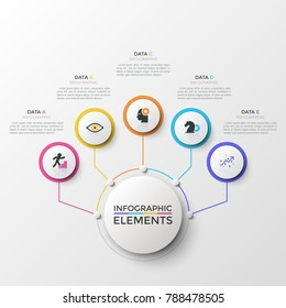 Five colorful round elements with thin line icons connected to main circle. Concept of 5 features or advantages of company's services. Creative infographic design template. Modern vector illustration.