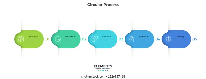 Five colorful rounded elements. Concept of 5 successive steps of business project development process. Minimal infographic design template. Modern flat vector illustration for data visualization.