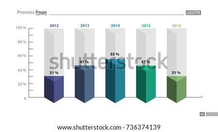 five columns bar chart slide template のベクター画像素材
