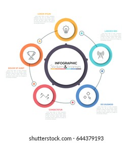 Five connected colorful circles with thin line symbols inside placed around central round element. Visualization of cyclic process concept. Simple infographic design layout. Vector illustration.