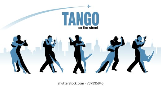 Five couples dancing Argentinian Tango. City skyline and plane flying on the background