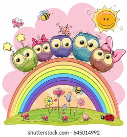 Five Cute Owls is sitting on a rainbow