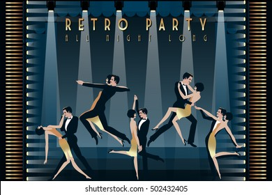 Five dancing couples on the dancefloor. Retro party hand drawing invitation card. Art Deco style.