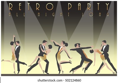 Five dancing couples. Retro party hand drawing invitation card. Art Deco style.