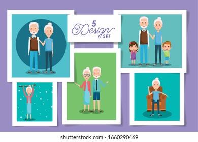 five designs of cute grandparents and grandsons vector illustration design