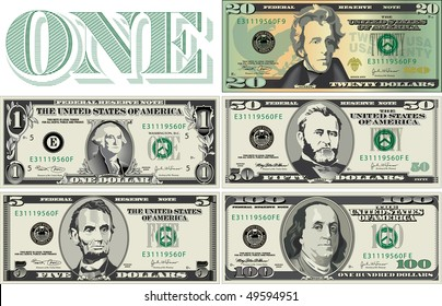 Five detailed, Stylized drawings of Bills