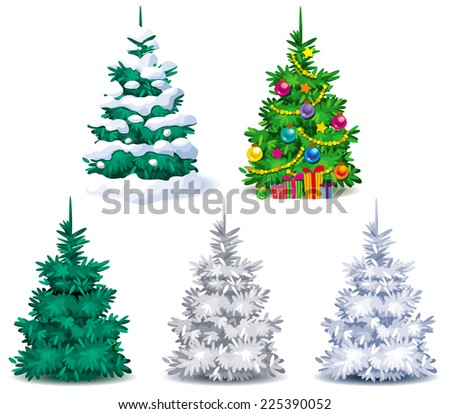 five different christmas trees with snow and christmas decorations - Different Christmas Decorations