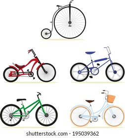 Five different models of bikes.