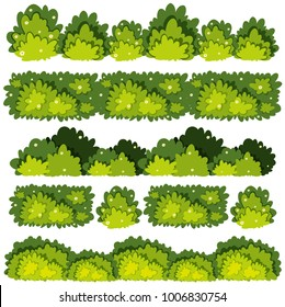 Five different patterns of green bushes illustration