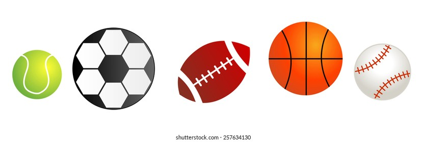 Five different sport balls isolated on white background. Balls divider