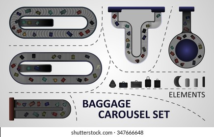 Five different types of baggage carousel constructions. Illustration includes: carousel plates, bags.
