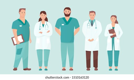 Five doctors standing tall. Medical care or urgent care concept. Friendly and caring doctors meet the patient. Flat cartoon vector illustration on isolated background.