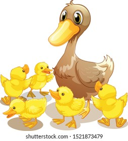 Five ducklings and mother cartoon vector art and illustration