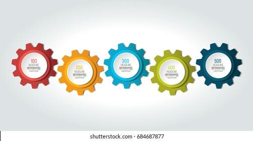 Five elements chart, scheme, diagram. 5 Infographic template.
