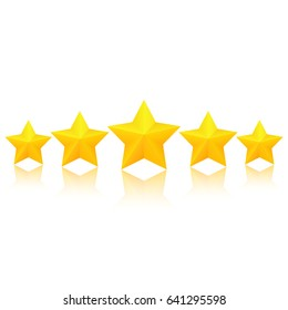 Five fat golden stars with reflection. Excellent quality rating. Vector, isolated, eps10.