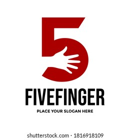 Five finger vector logo template. This design use number symbol. Suitable for hand.