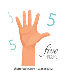 Five fingers poster with headline. Male hand stretching out