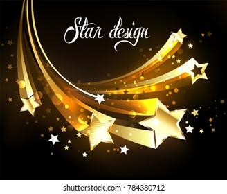 Five flying golden stars on dark background.