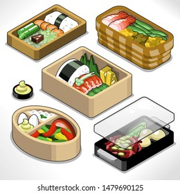 Five food boxes for lunch at work (isometric view, vector illustration)