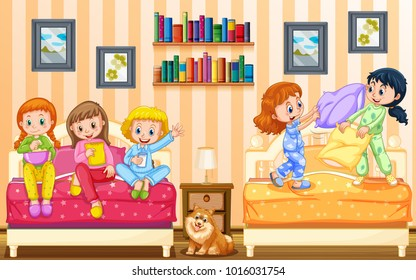 Five girls playing in bedroom illustration
