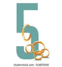 Five golden rings. EPS 10 vector.