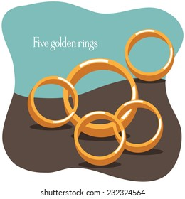 Five golden rings Twelve Days of Christmas EPS 10 vector illustration