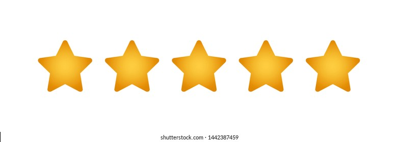 five golden star rating illustration vector