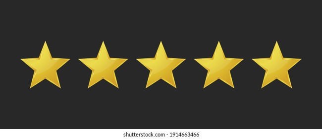 Five golden stars isolated on black background. Rating stars icon. Vector illustration