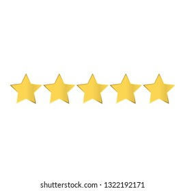 Five golden stars rating icon vector ,Vector on white background