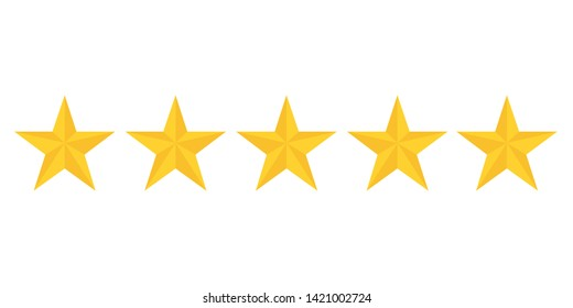 five golden stars rating showing best quality vector