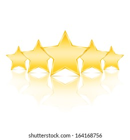 Five golden stars with reflection on white background, vector eps10 illustration