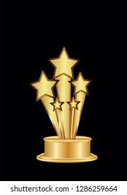 Five golden stars, vector