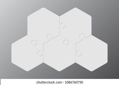 Five Grey Piece Puzzle Hexagon Diagram. Hexagon Puzzle Business Presentation Infographic.5 Step Process Diagram. Section Compare Banner. Jigsaw Puzzle Infographics. Information Puzzle Design. Puzzles.