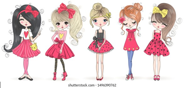 Five hand drawn beautiful cute cartoon amazing fashion girls. Vector illustration.