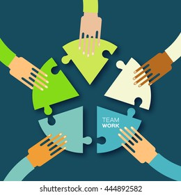 Five hands together team work. Hands putting circle puzzle pieces. Teamwork and business concept. Hands of different colors, cultural and ethnic diversity. Vector illustration