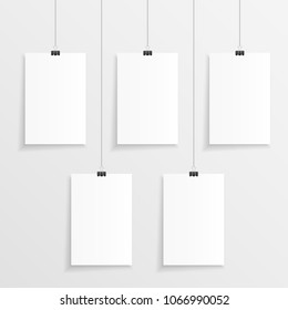Five hanging blank paper with clips and string in vertical direction. Empty 5 step infographic illustration.