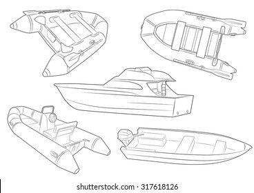 five height detailed fishing boats icons
